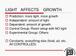 light affects growth