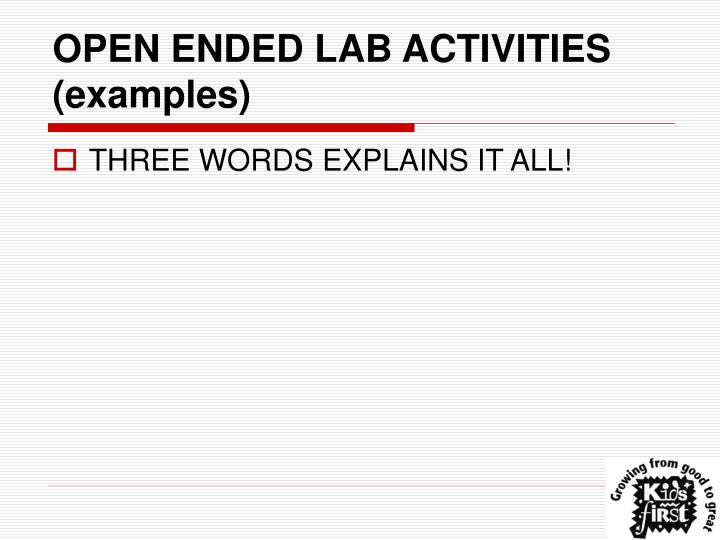 OPEN ENDED LAB ACTIVITIES (examples)