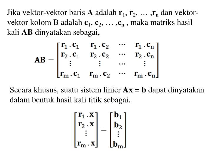 Jika vektor-vektor baris