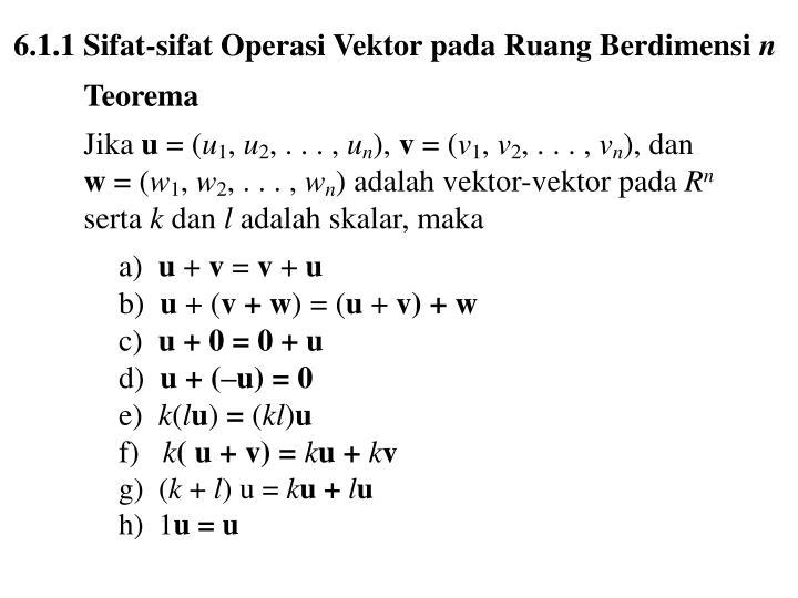6.1.1 Sifat-sifat Operasi Vektor pada Ruang Berdimensi
