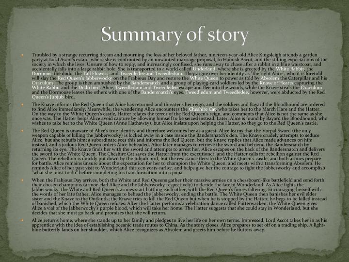 Summary of story