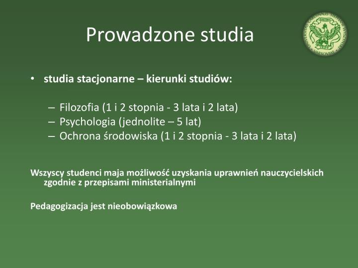 Prowadzone studia