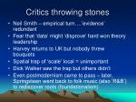 critics throwing stones