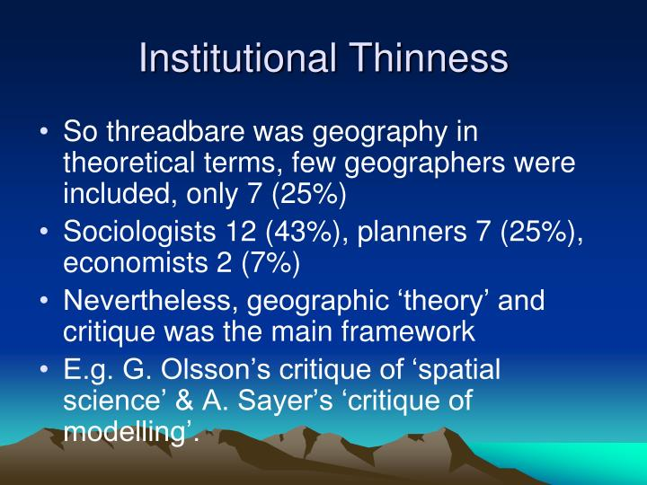 Institutional Thinness