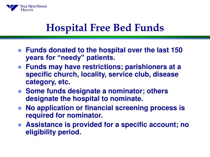 Hospital Free Bed Funds