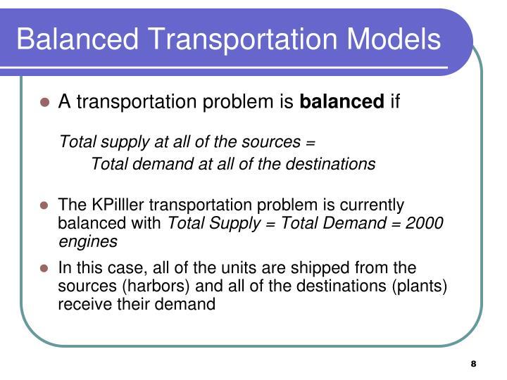 Balanced Transportation Models
