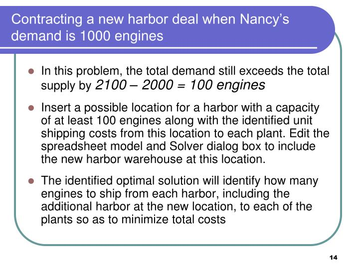 Contracting a new harbor deal when Nancy's demand is 1000 engines