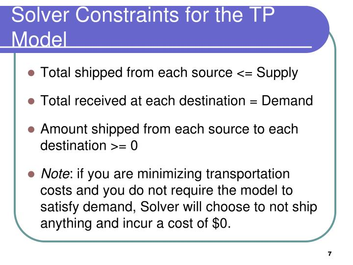 Solver Constraints for the TP Model