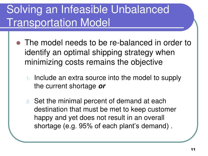 Solving an Infeasible Unbalanced Transportation Model