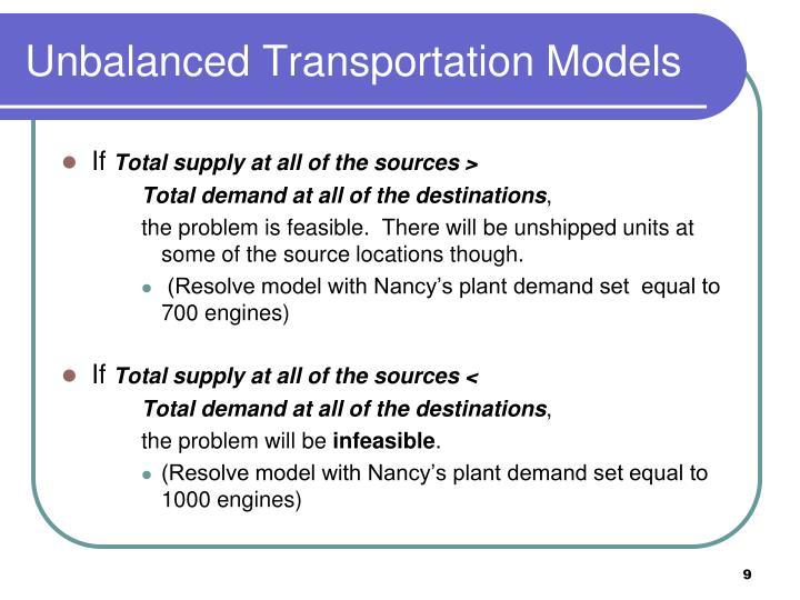 Unbalanced Transportation Models
