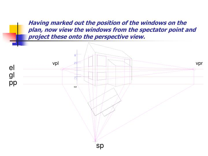 Having marked out the position of the windows on the plan, now view the windows from the spectator point and project these onto the perspective view.