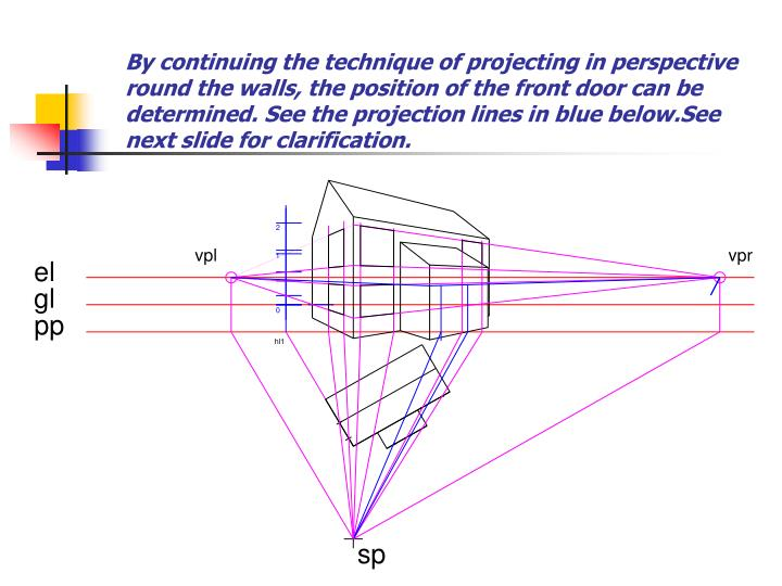 By continuing the technique of projecting in perspective round the walls, the position of the front door can be determined. See the projection lines in blue below.See next slide for clarification.