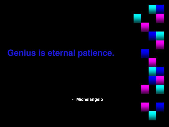 Genius is eternal patience.