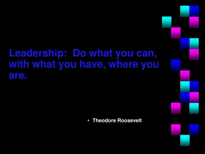Leadership:  Do what you can, with what you have, where you are.