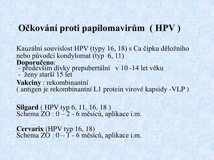 Očkování proti papilomavirům  ( HPV )