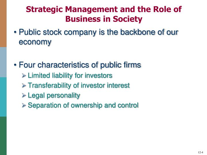 Strategic Management and the Role of Business in Society