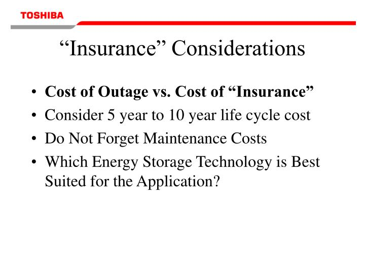 """Insurance"" Considerations"