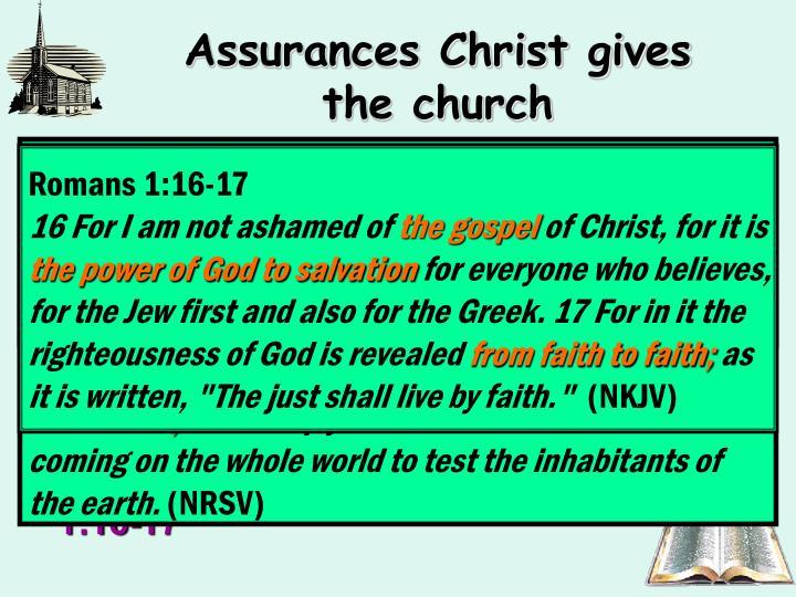 Assurances Christ gives