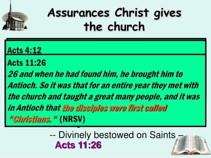 Assurances Christ gives