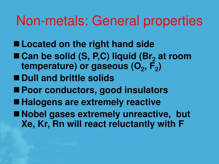 Non-metals: General properties