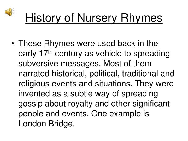 History of Nursery Rhymes