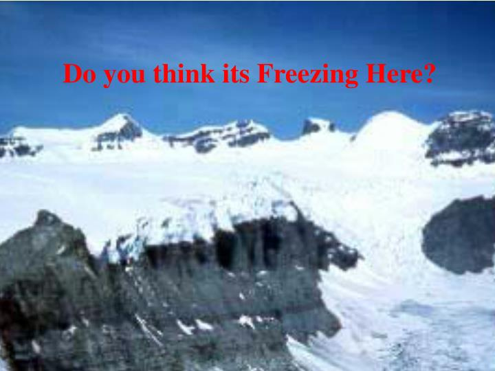 Do you think its Freezing Here?