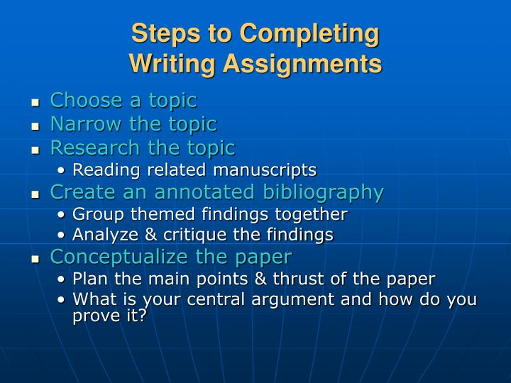 Steps to Completing