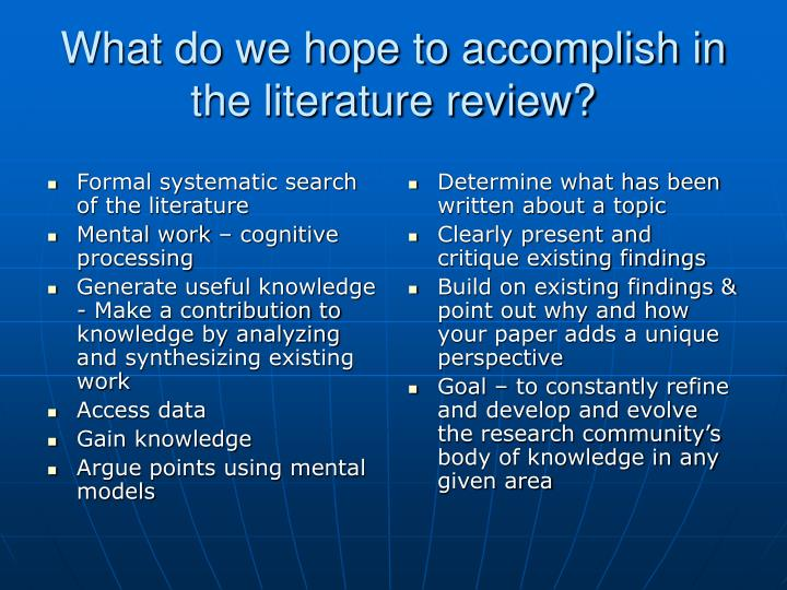 Formal systematic search of the literature