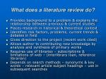 what does a literature review do