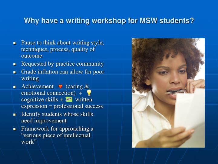 Why have a writing workshop for MSW students?