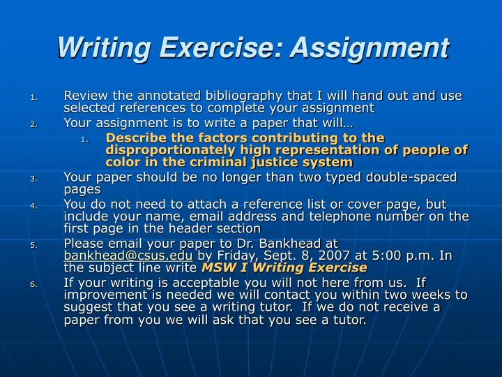 Writing Exercise: Assignment
