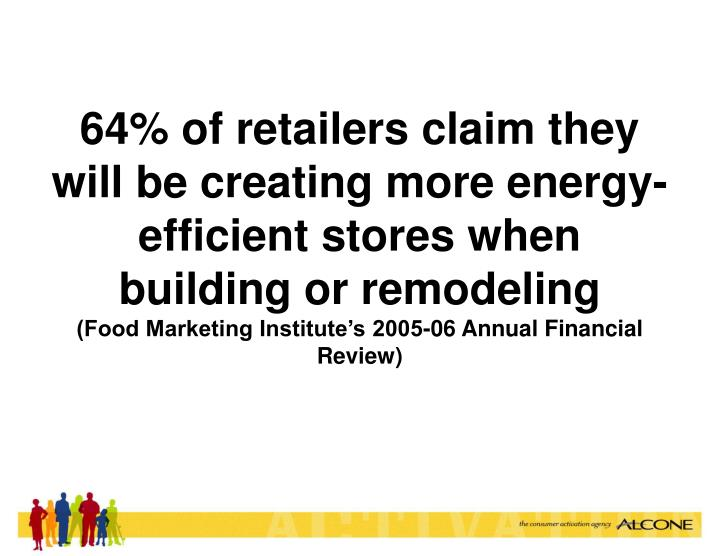 64% of retailers claim they will be creating more energy-efficient stores when building or remodeling