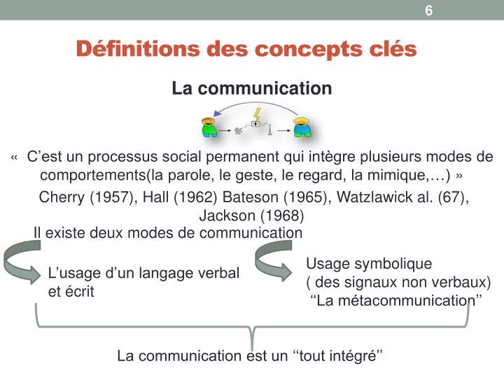 Définitions des concepts clés