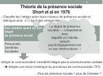 th orie de la pr sence sociale short et al en 1976