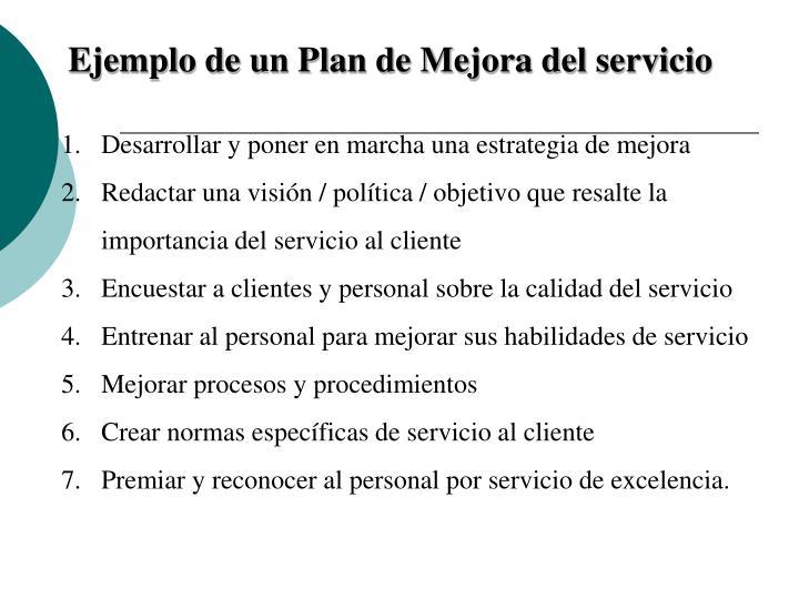 Ejemplo de un Plan de Mejora del servicio