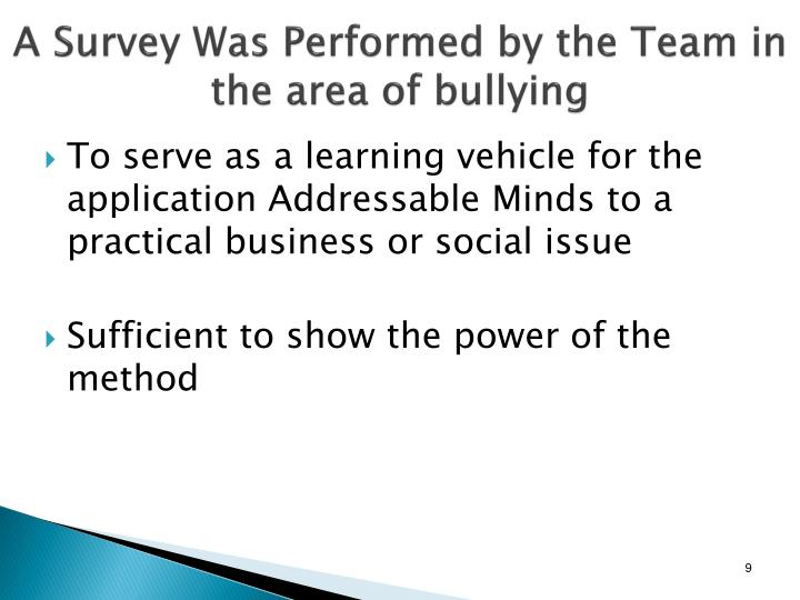 A Survey Was Performed by the Team in the area of bullying
