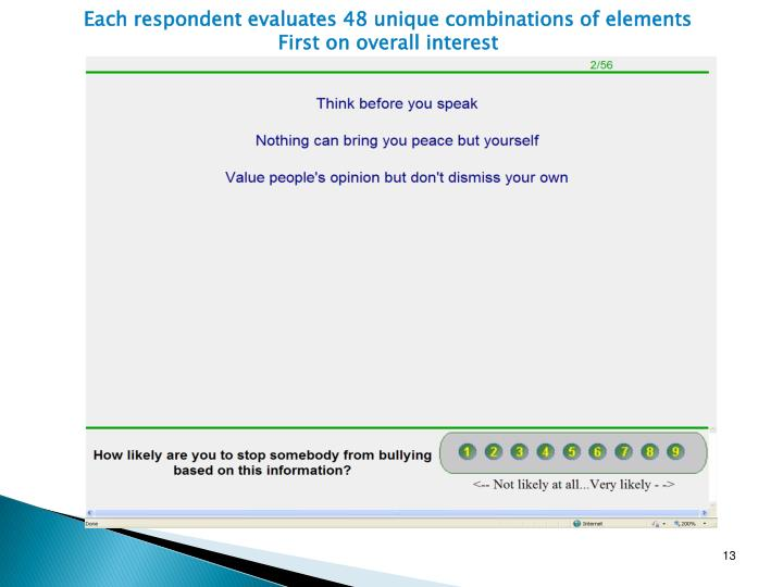Each respondent evaluates 48 unique combinations of elements