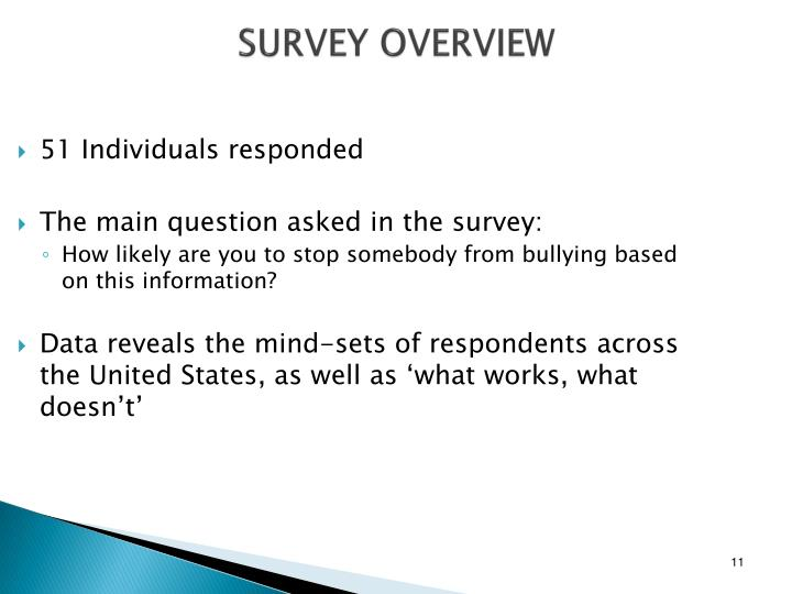 SURVEY OVERVIEW