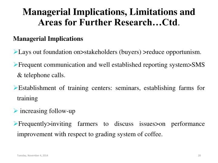 Managerial Implications, Limitations and Areas for Further Research…Ctd