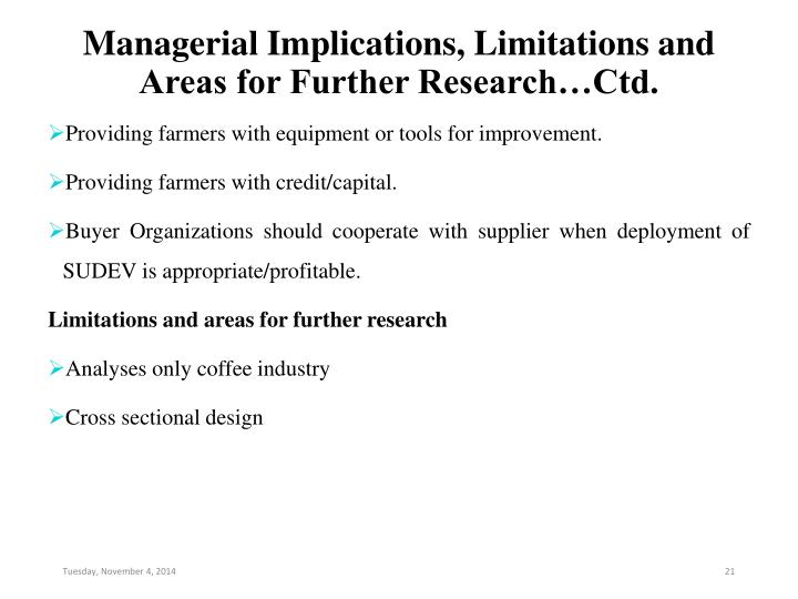Managerial Implications, Limitations and Areas for Further Research…Ctd.