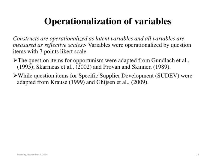 Operationalization of variables