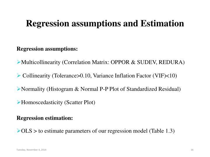 Regression assumptions and Estimation