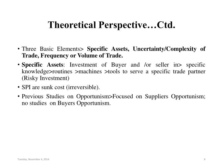 Theoretical Perspective…Ctd.
