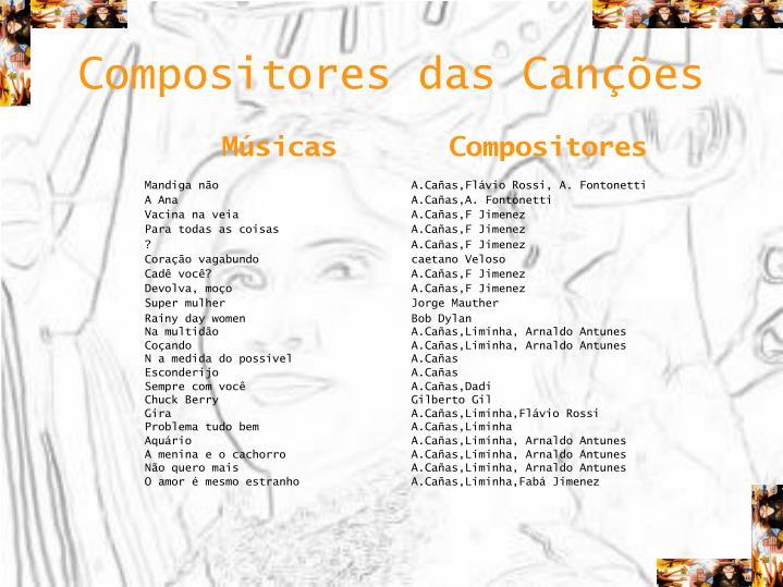Compositores das Canções