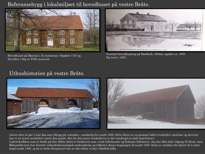 Referansebygg i lokalmiljøet til hovedhuset på vestre Bråte.