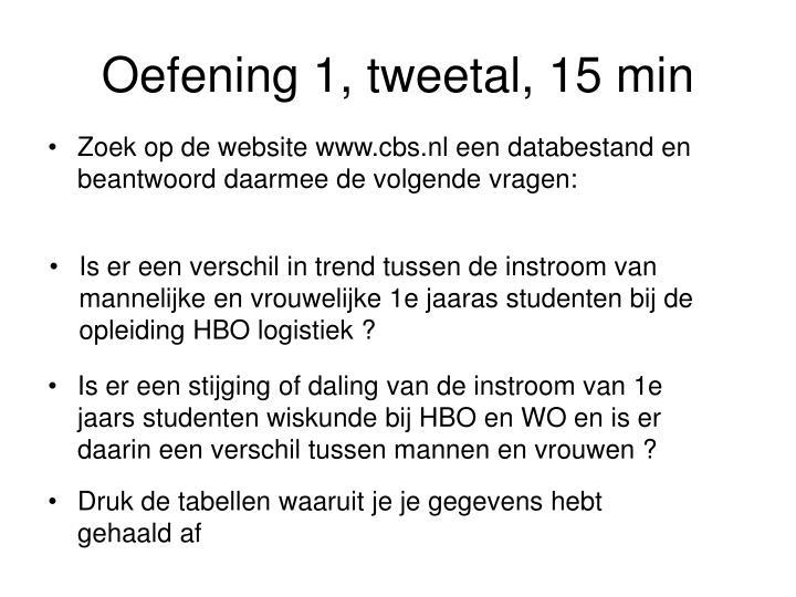 Oefening 1, tweetal, 15 min