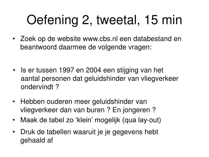 Oefening 2, tweetal, 15 min