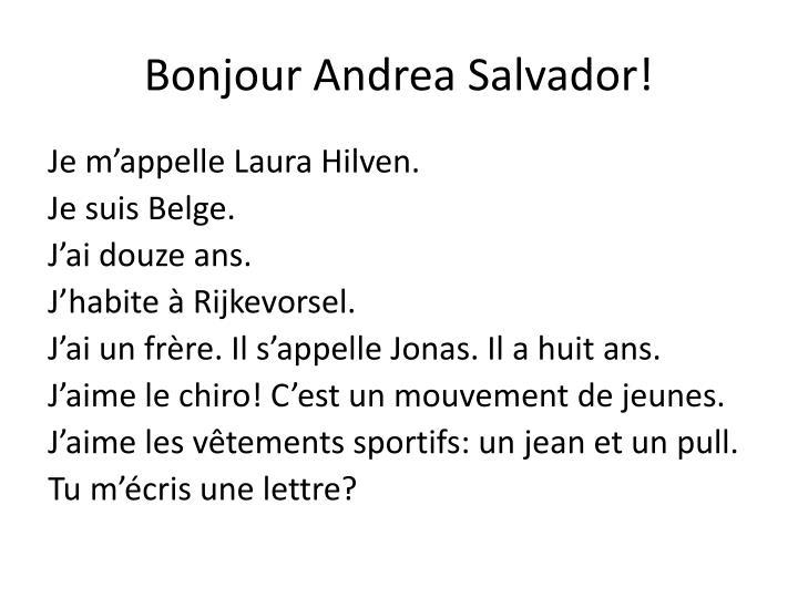 Bonjour Andrea Salvador!