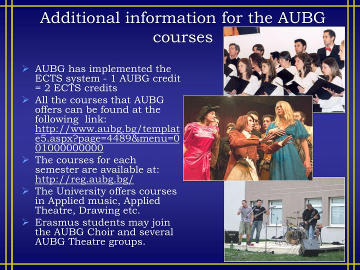 Additional information for the AUBG courses
