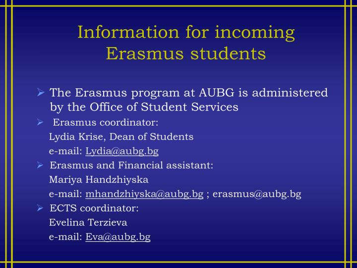Information for incoming Erasmus students